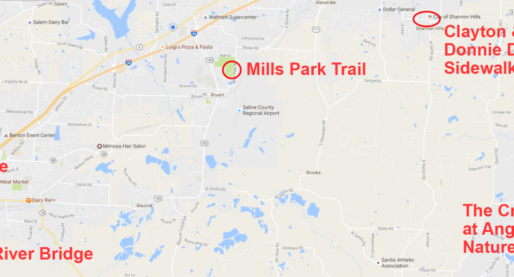 Saline County Projects to Get Over $1M in AHTD Grants for Trails, Sidewalks & Old River Bridge