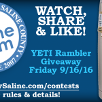 You could win a YETI Cup from MySaline! See rules and info.