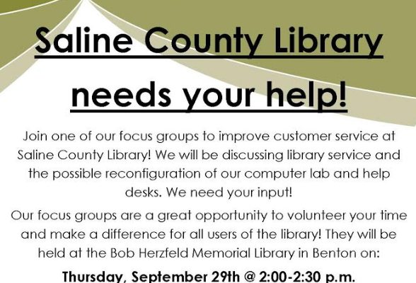The Library Wants You for a Focus Group on Thursday