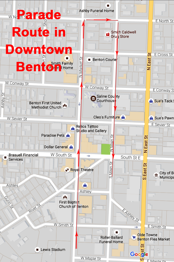 parade route downtown benton