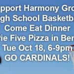 Pizza Fundraiser Tonight for Harmony Grove HS Basketball