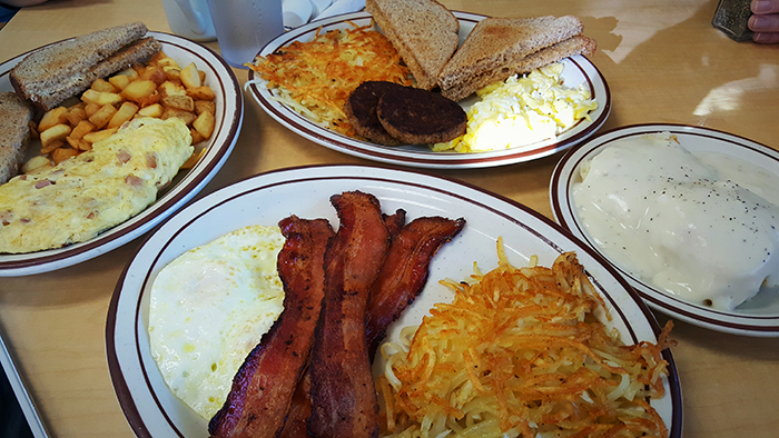 breakfast bacon eggs biscuits gravy bryant cafe taters hash-browns toast sausage reynolds road