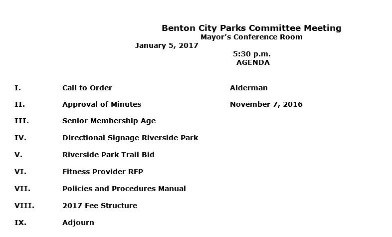 Benton parks meeting agenda