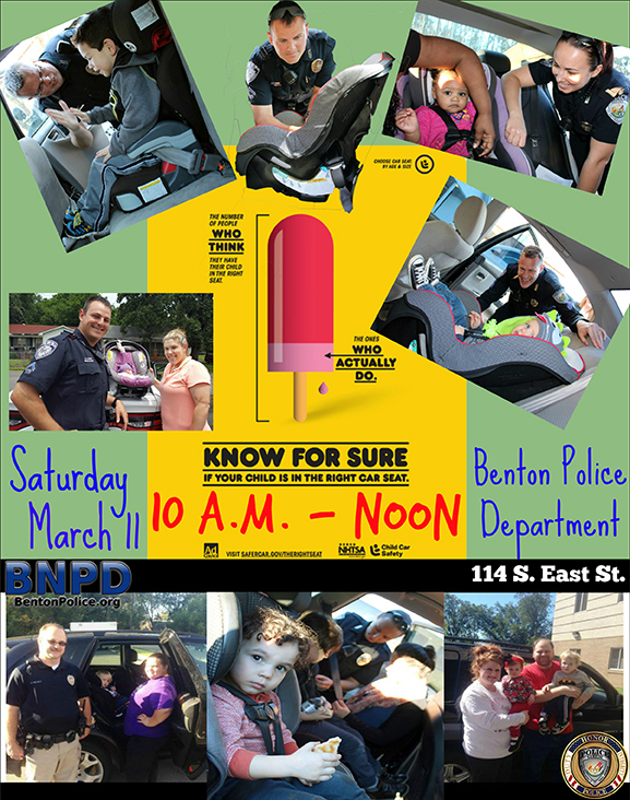 get your child safety seat checked with benton pd march 11th and know for sure. Black Bedroom Furniture Sets. Home Design Ideas