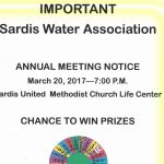 Sardis Water Annual Meeting Is March 20th