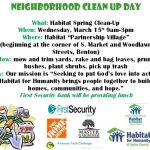 "Habitat to Host ""Neighborhood Clean-Up Day"" on March 15th at Partnership Village"