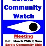 Sardis Community Watch to Hold Meeting March 25th