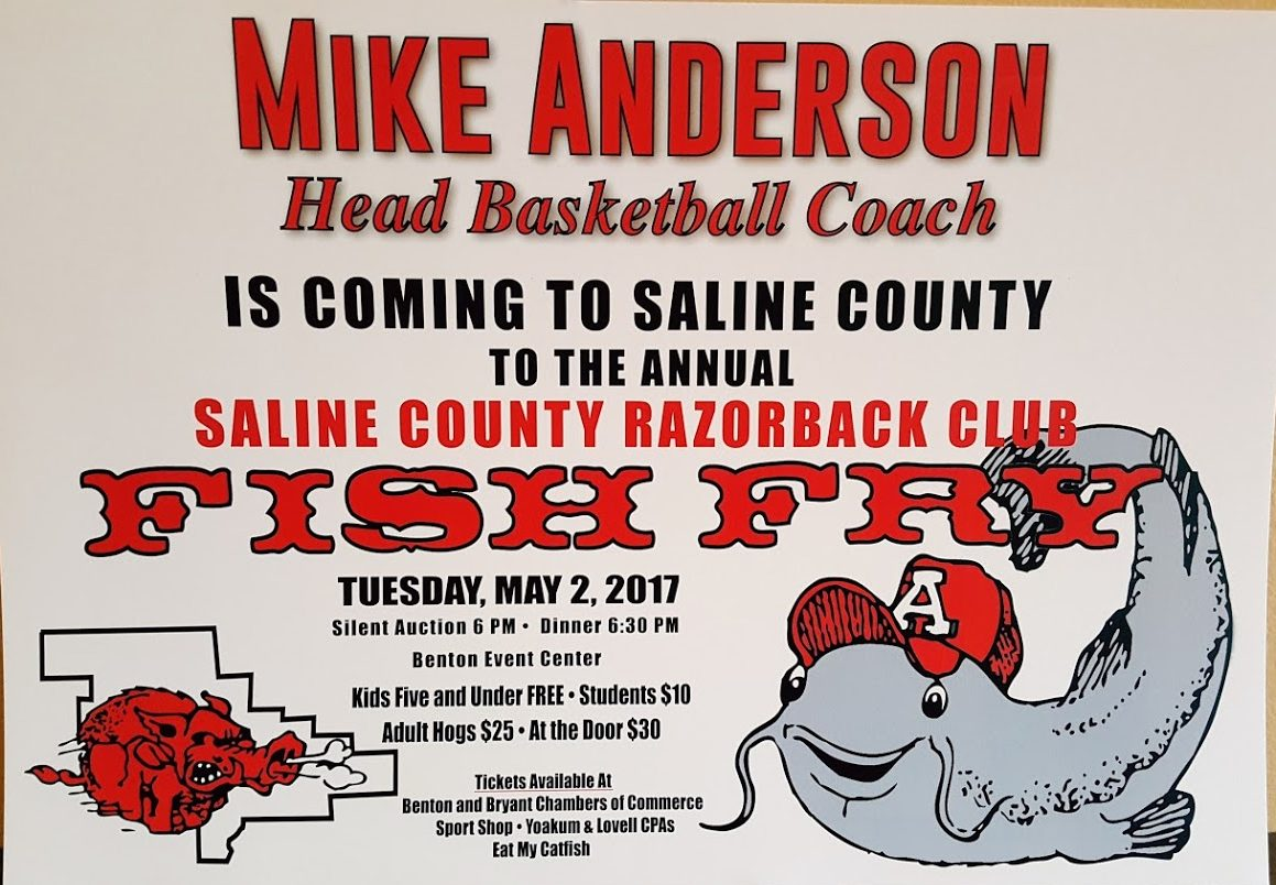 Saline County Razorback Club Fish Fry May 2nd Features