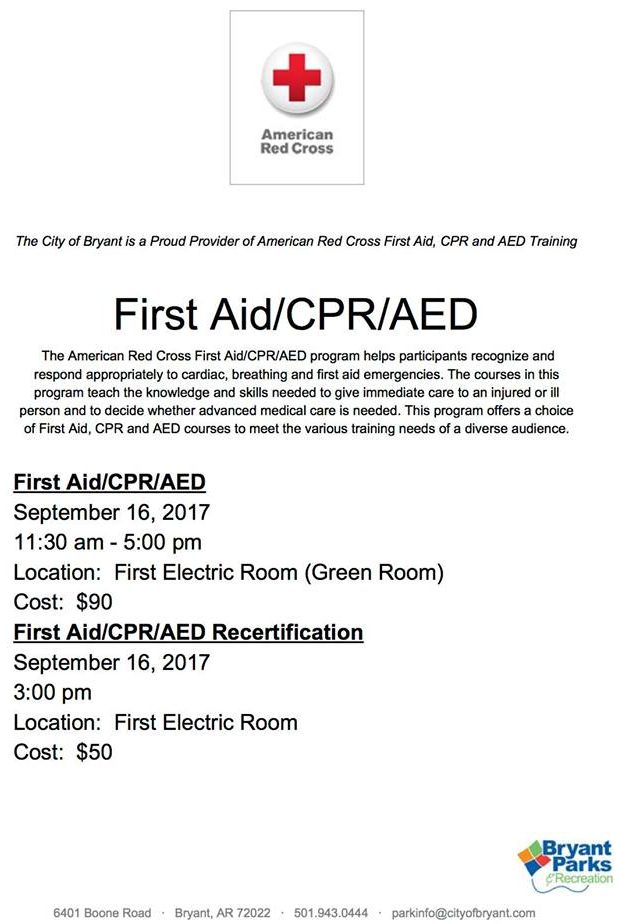Register For First Aidcpraed Training On Sept 16th In Bryant