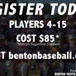Register for Youth Baseball in Benton Now Until Feb 14th