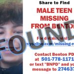 UPDATE: Male Teen Missing from Benton Has Been Found