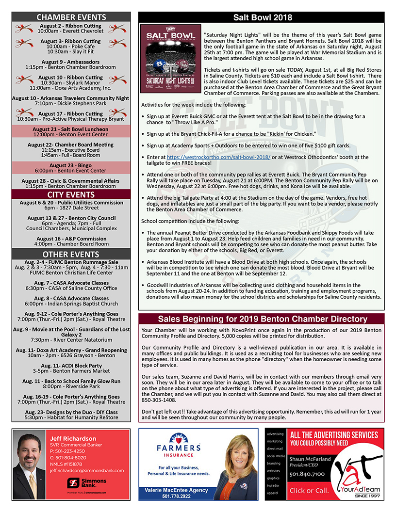 Benton Chamber Newsletter 080118 – New Members, Events & Promotions