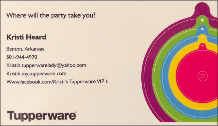 Kristi Heard, Tupperware, Benton, Arkansas, 501-944-4970 kristih.tupperwarelady@yahoo.com kristih.my.tupperware.com