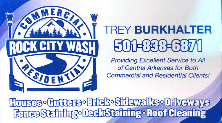 Rock City Wash - Commercial and Residential - Houses, Gutters, Brick, Sidewalk, Driveways, Fence Staining, Deck Staining, Roof Cleaning... Trey Burkhalter 501-838-6871. Providing excellent service to all of Central Arkansas for both commercial and residential clients!